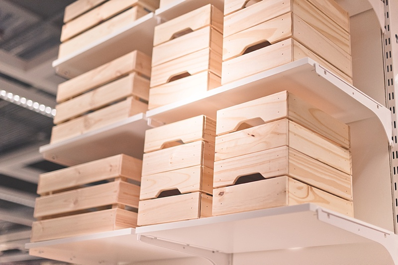 Great unfinished wood crates from IKEA for DIY wedding idea