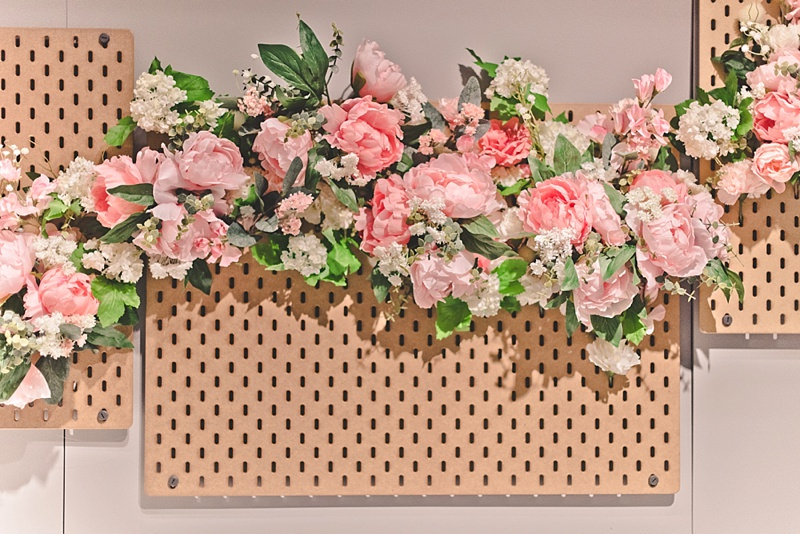 Faux silk flowers from IKEA for custom DIY wedding photo booth backdrop