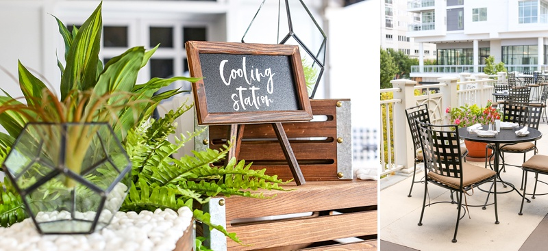 Unique summer wedding ideas for outdoor cooling stations and infused water