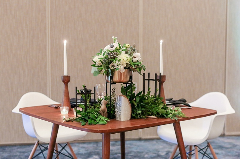 Modern boho sweetheart table for hotel wedding at the Westin