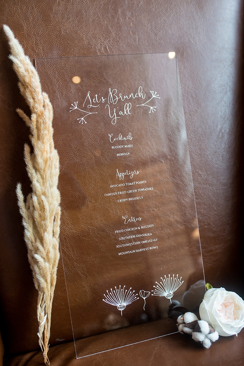 Acrylic post wedding brunch menu with pampas grass and cotton