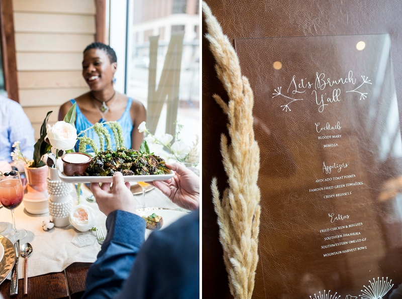 Delicious modern Southern menu for post wedding brunch food