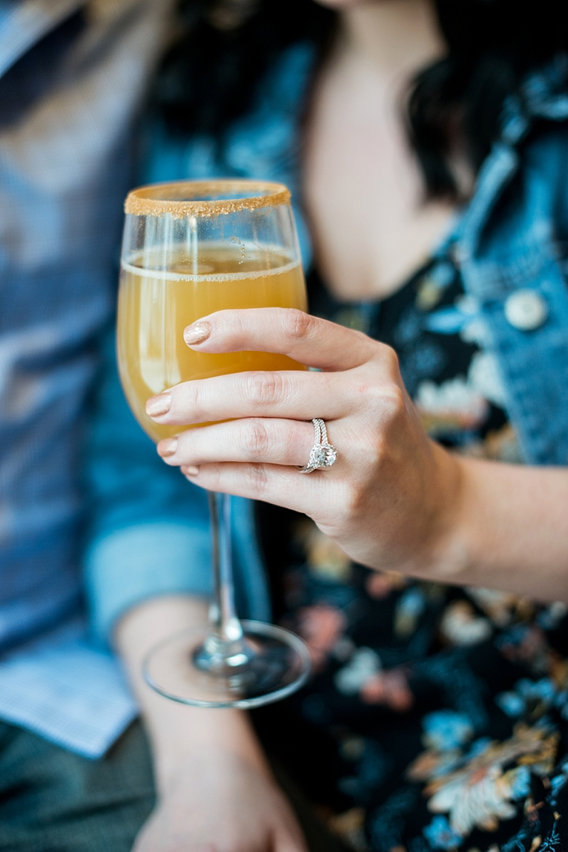 Yummy Applelachian mimosa from Tupelo Honey and gorgeous oval wedding rings from Boyers Diamonds in Town Center of Virginia Beach