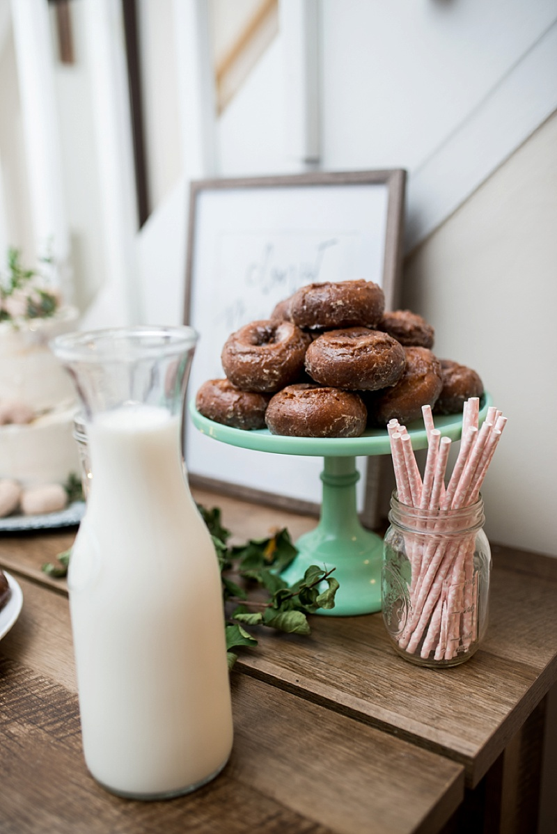 Yummy cake donuts with milk for new traditional wedding dessert favorite