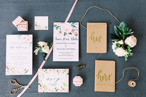 Romantic wedding invitations with watercolor flowers and His and Her vow books