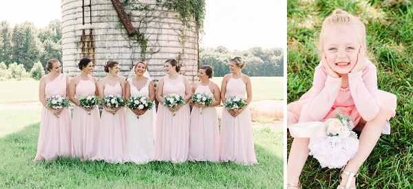 Pink bridesmaid dresses for rustic outdoors wedding