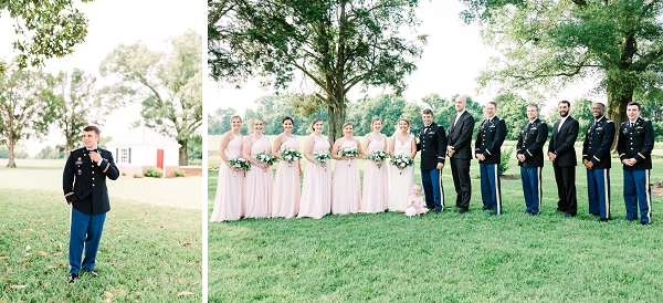 Classic blush pink bridesmaid dresses and military uniforms