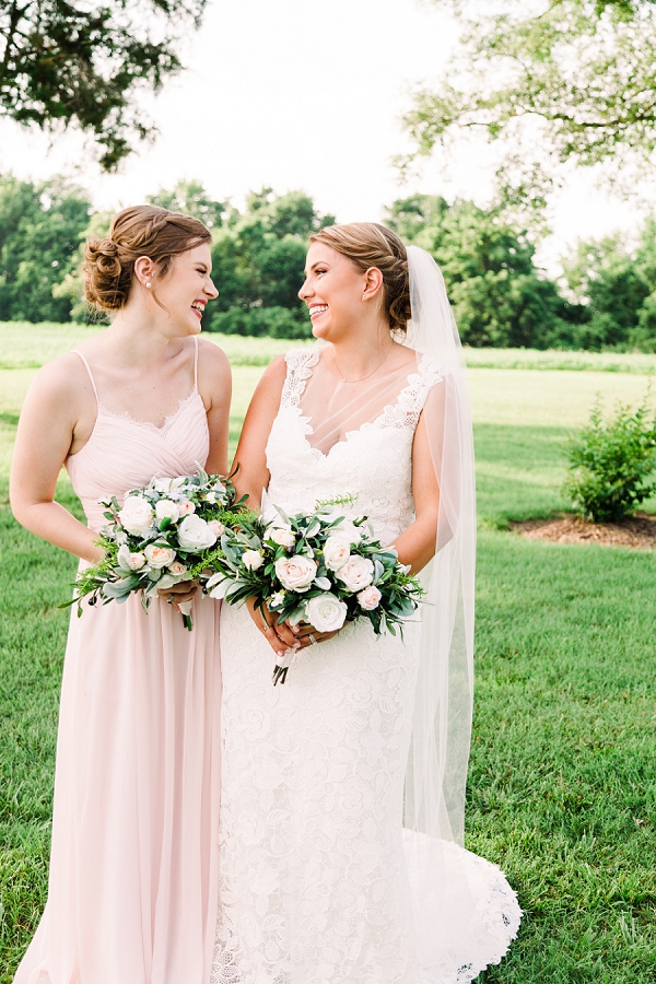 Blush pink bridesmaid dress and bridal gown with illusion neckline