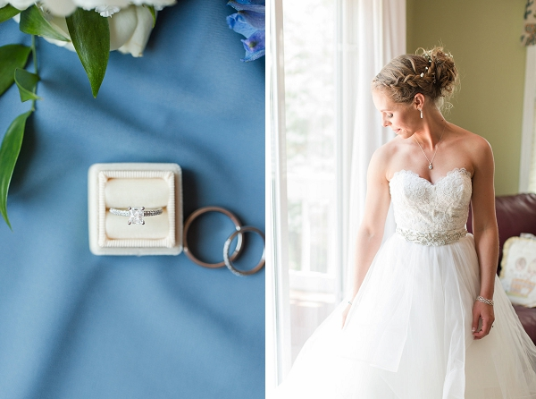 Blue and white wedding details and ring box