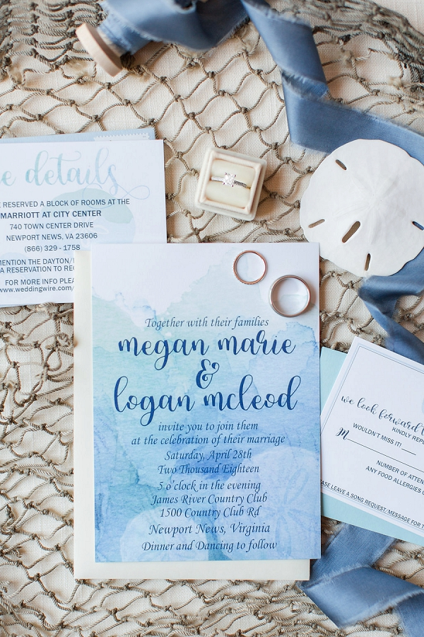 Blue watercolor wedding invitation with nautical details
