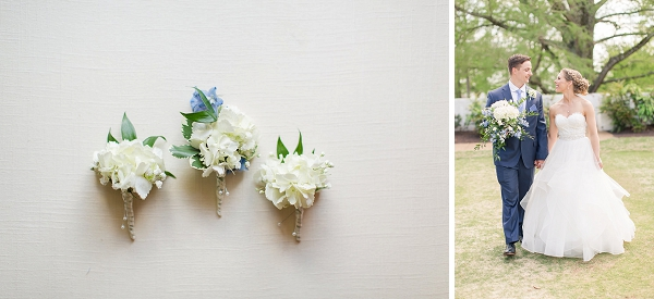 Hydrangea wedding details at James River Country Club