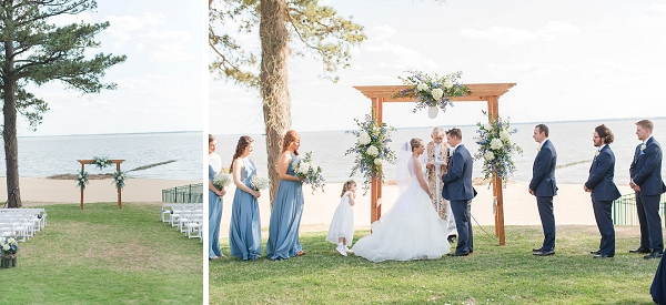 Waterside wedding with sand dollar ceremony arch in Newport News