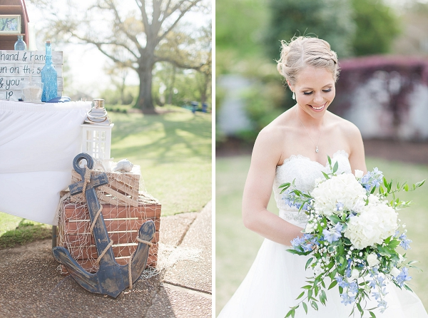 Rustic anchor and nautical details for riverfront wedding in Hampton Roads