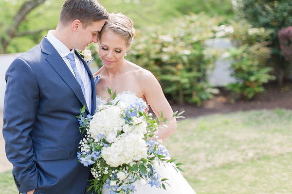 Classic nautical wedding bride and groom with blue and white attire