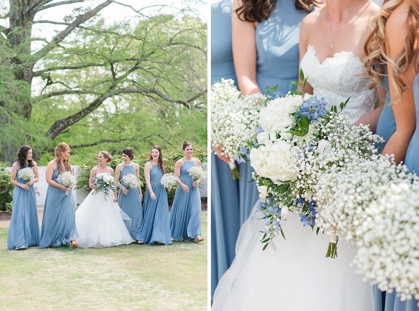 Bridesmaids in blue dresses for nautical wedding