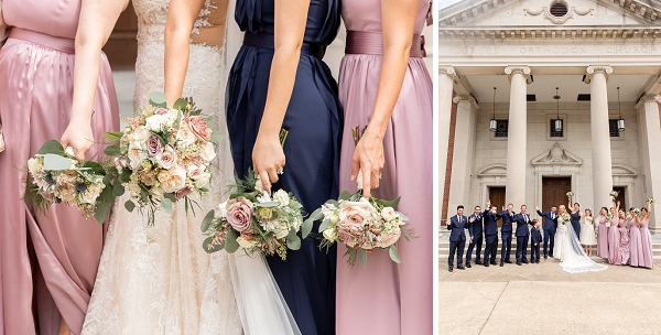 Navy blue and pink wedding party attire ideas for nautical wedding in Newport News Virginia