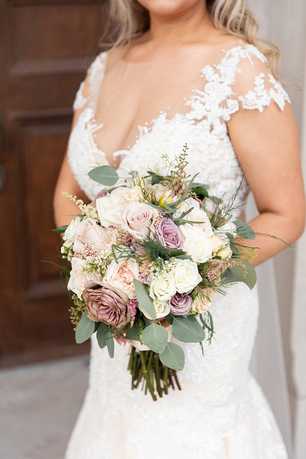 Blush pink and white bridal bouquet for classic nautical wedding