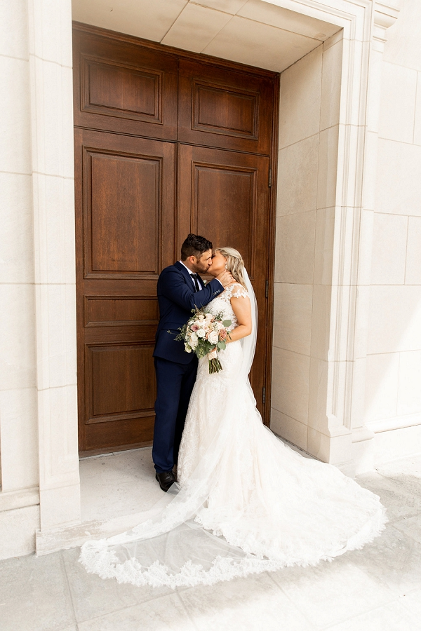 Romantic moment for Greek Orthodox bride and groom in Coastal Virginia