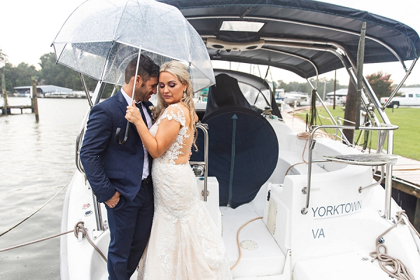 Boat wedding exit at Warwick Yacht and Country Club in Hampton Roads