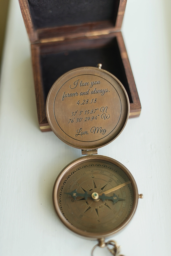 Personalized compass for groom gift at nautical wedding