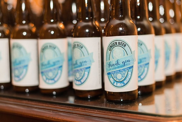 Custom ginger beer labels for nautical wedding cocktail bar