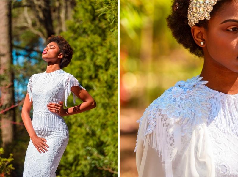 Boho bridal dress with fringe sleeves and waist details