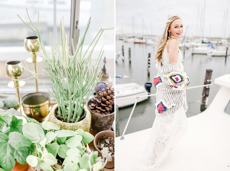 Boho houseboat portraits for fun and unique bride in Norfolk Virginia