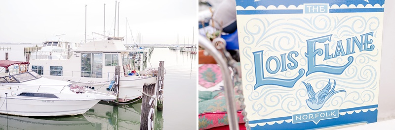 Unique bridal portraits on a houseboat in Norfolk Virginia