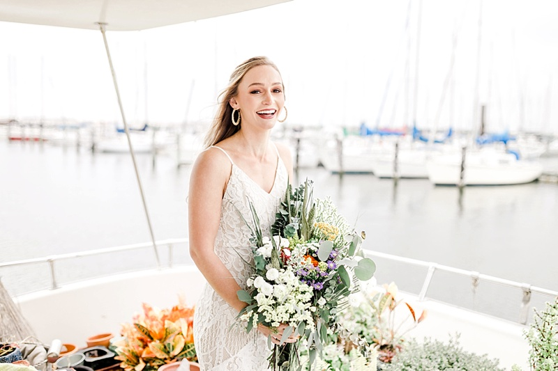 Boho bridal session on a Norfolk Virginia houseboat
