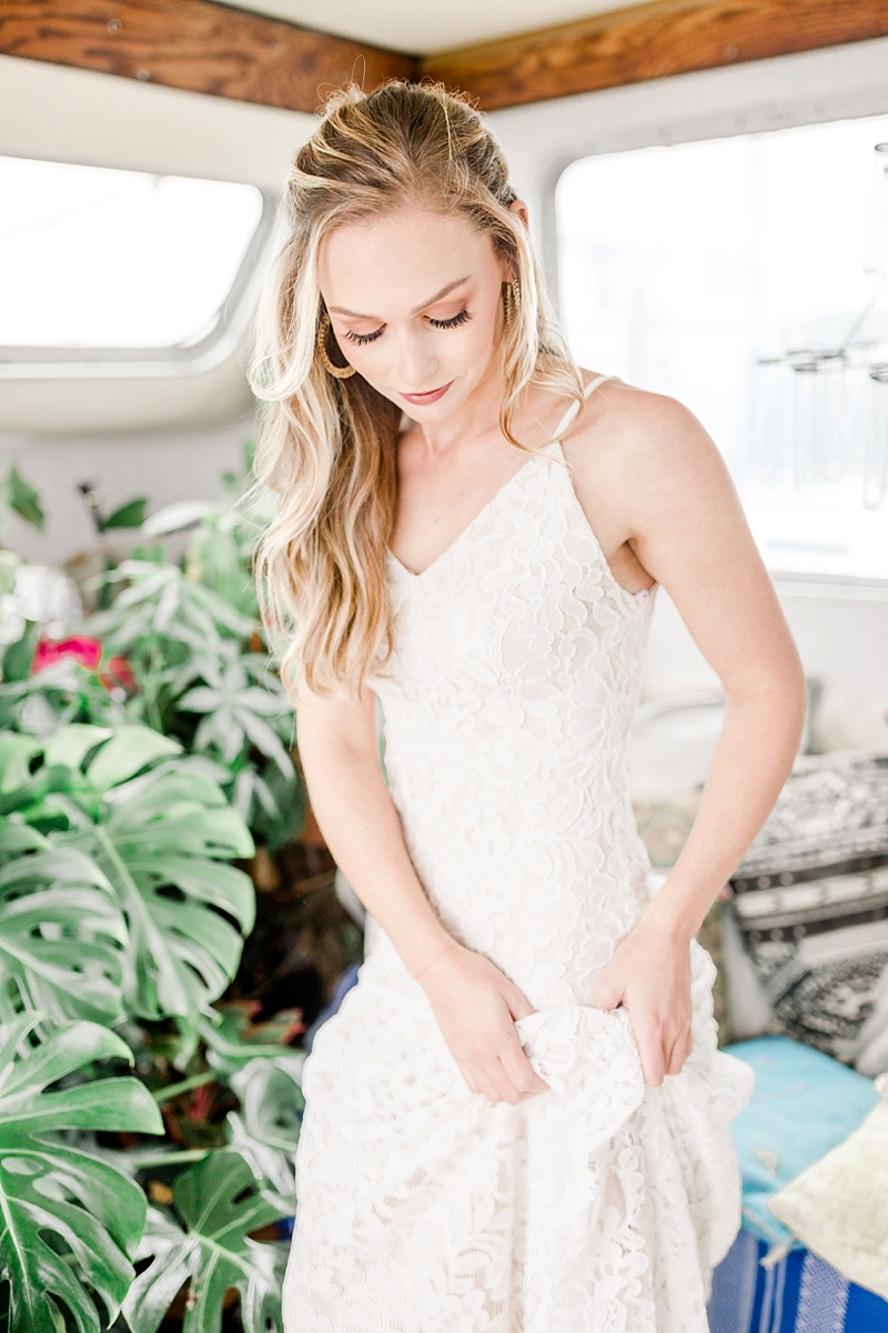 Soft and natural wedding makeup look perfect for a casual boho bride