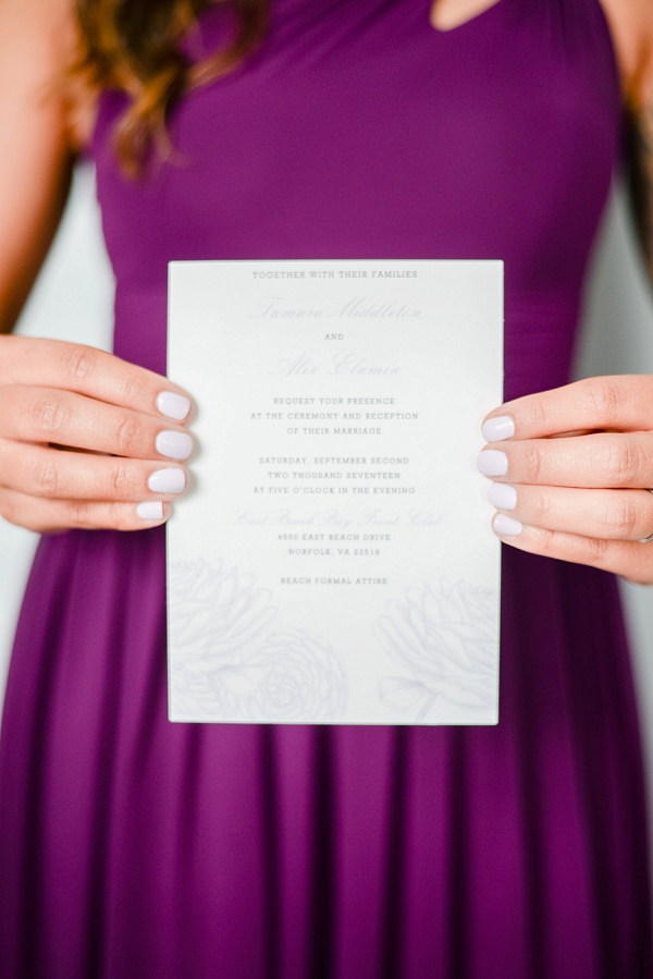Rose Decorated Wedding Invitation in Norfolk Virginia