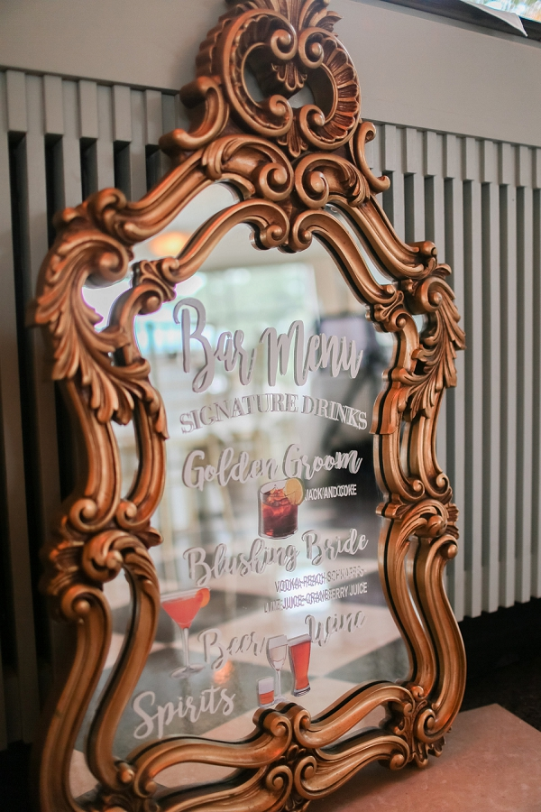Vintage Mirror Sign for Signature Wedding Cocktails in Norfolk Virginia