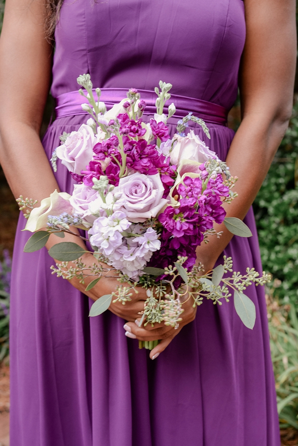 Purple and White Bridesmaid Bouquet in Norfolk Virginia