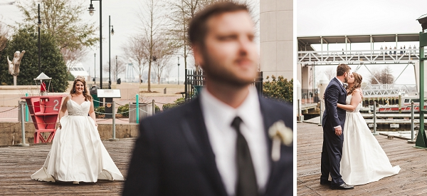 Bride and groom first look at Half Moone Center in Norfolk Virginia