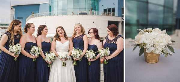 Bridesmaids in navy blue lace dresses