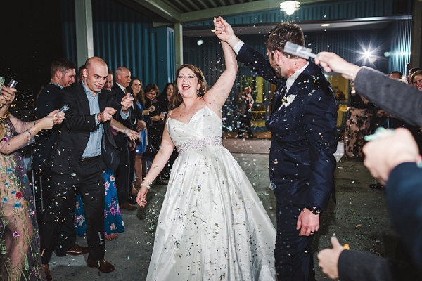 Confetti sendoff for bride and groom