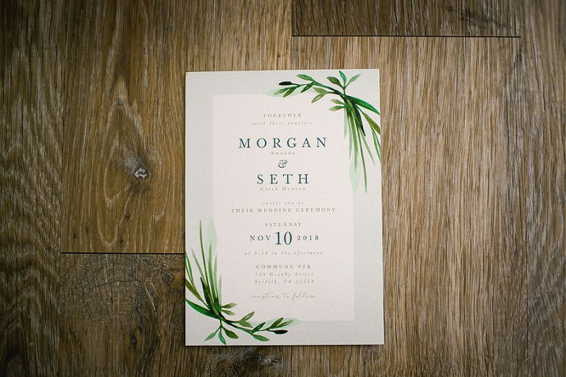 Simple greenery inspired wedding invitation for boho wedding