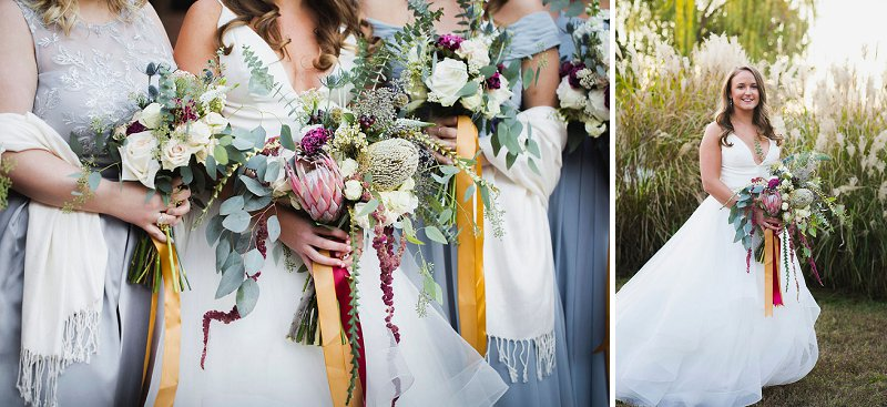 Textured wedding bouquets for both bridesmaids and bride in Norfolk Virginia