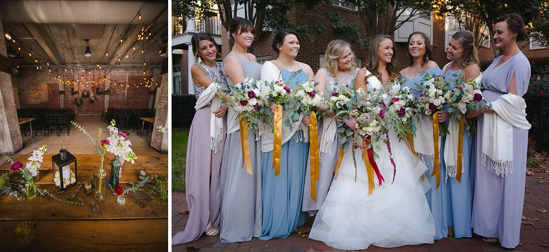 Fun bridesmaid dresses in mismatched style in different shades of blue