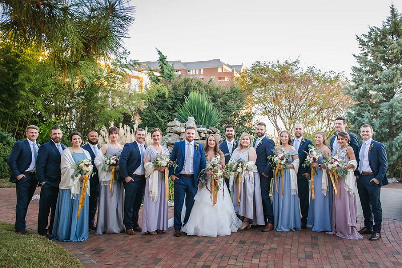 Elegant shades of blue for entire wedding party attire