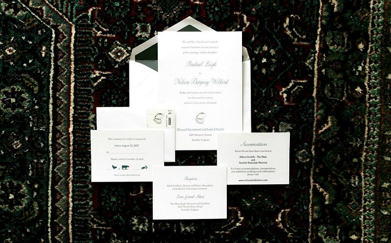 Classic coastal wedding invitation suite with oyster illustration