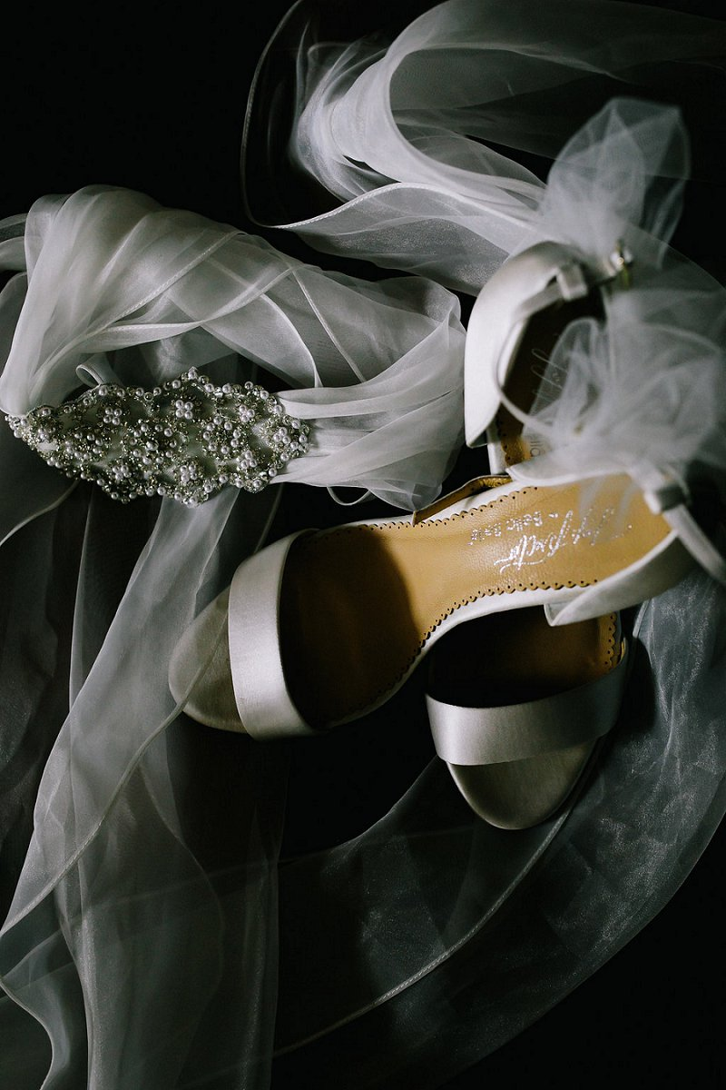 White satin bridal shoes for classic bride