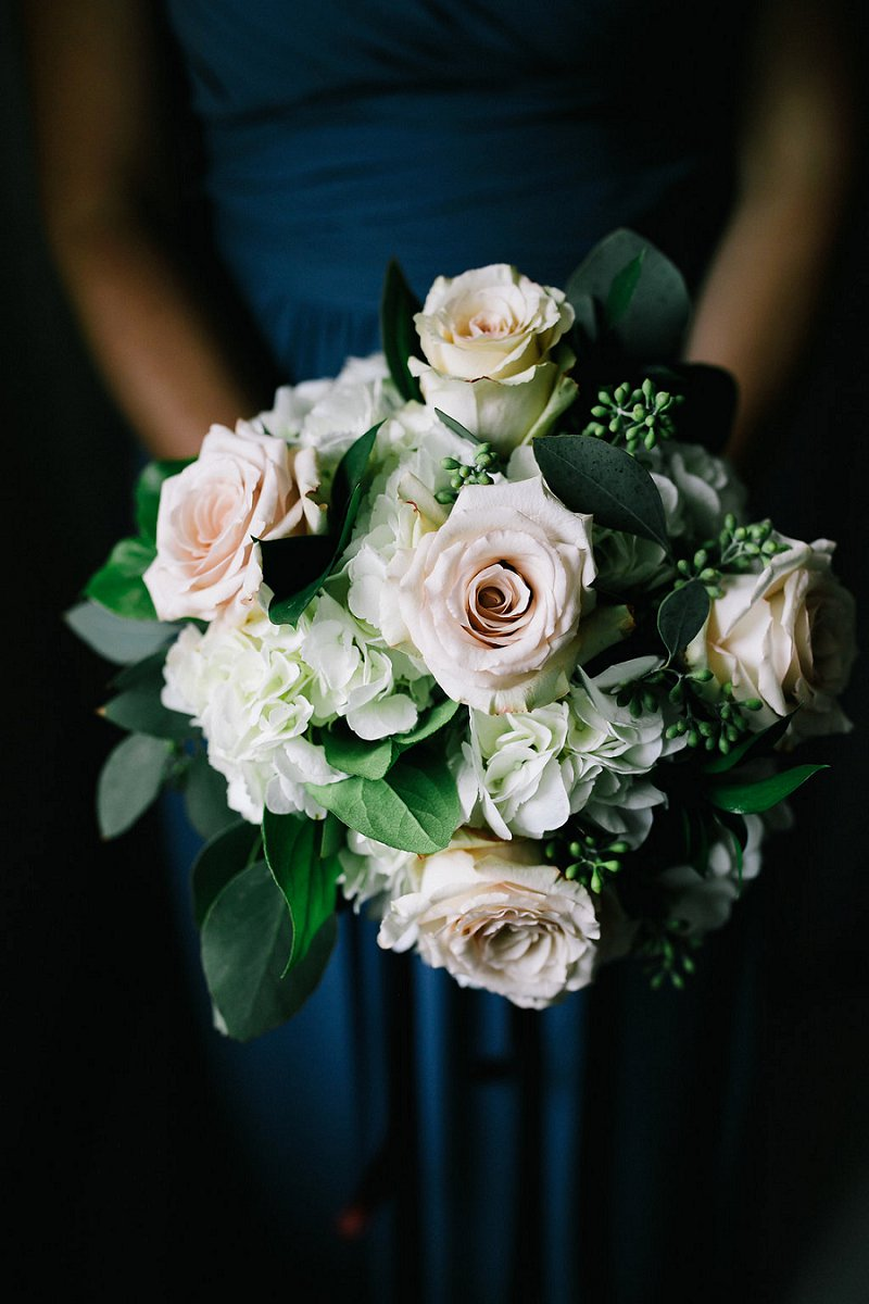 Simple classic bridesmaid bouquet with roses and hydrangeas