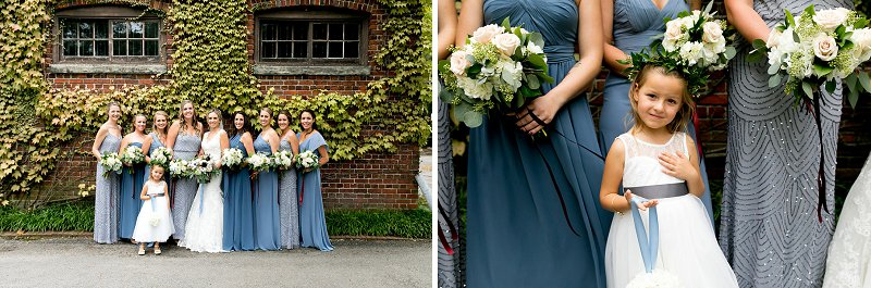 Bridesmaids in blue dresses for coastal wedding style
