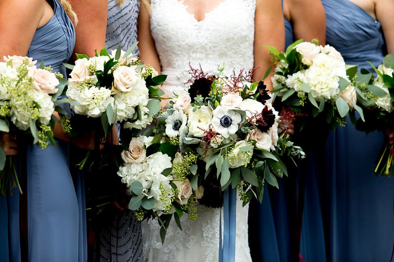 Gorgeous wedding bouquets filled with anemones and hydrangeas
