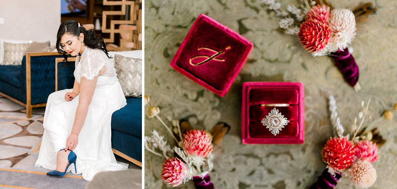 Red velvet wedding ring box with monogram