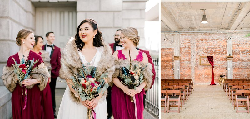 Winter wedding in Norfolk Virginia at Commune Restaurant