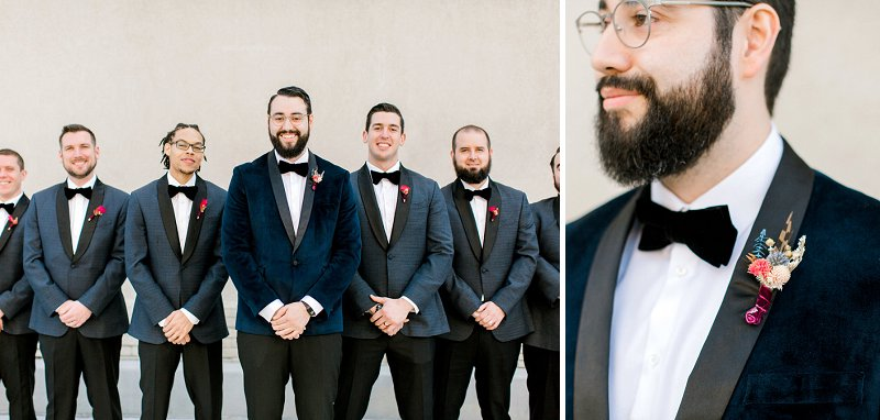 Handsome groom in dark navy blue velvet tuxedo for winter wedding in Virginia