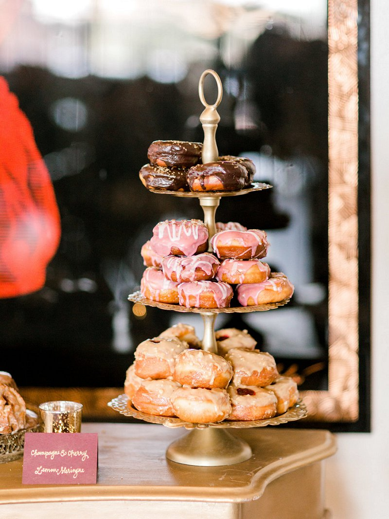 Champagne and cherry flavored donuts for fun chic winter wedding