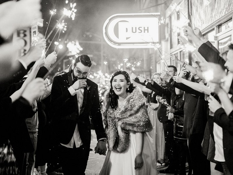 Fun sparkler exit for winter wedding in Norfolk Virginia